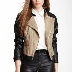 Anthropologie Blanc Noir Linen Moto Jacket